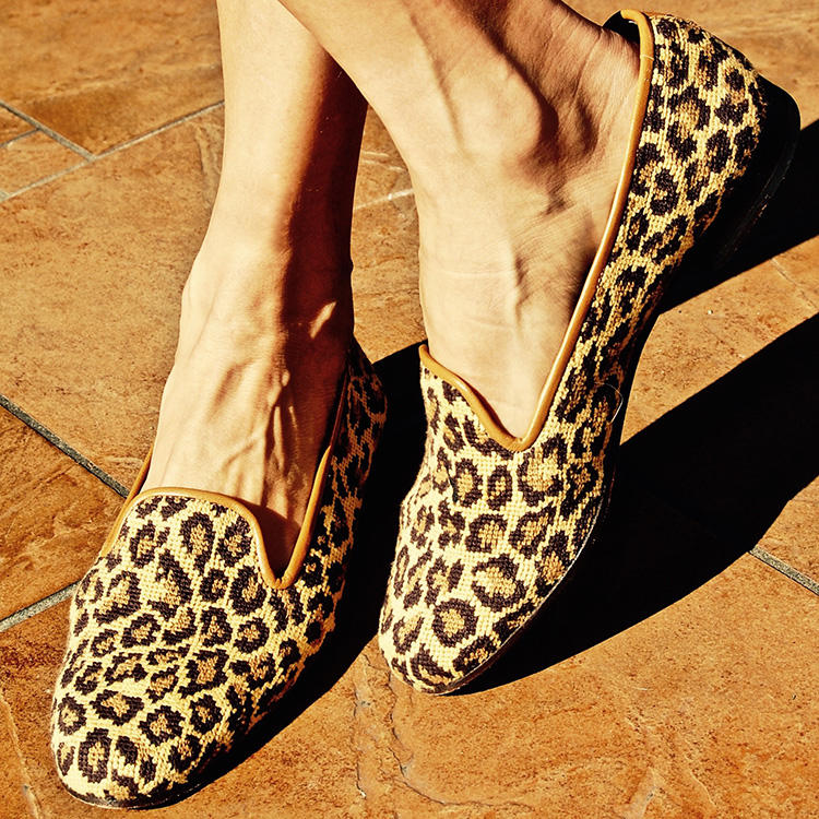 Stubbs & Wootton also make ladies slippers.  This  leopard print pair is shown in needlepoint-one of the fabric options available.